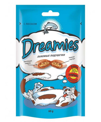 Дримс/Dreamies  60гр лакомство для кошек с лососем