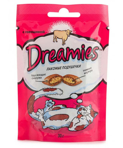 Дримс/Dreamies  30гр лакомство для кошек с говядиной