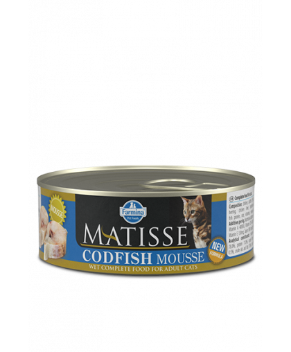 Фармина/Farmina  консервы Matiess Mousse Codfish корм для кошек мусс с Треской  85гр